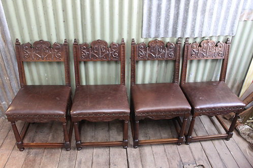 A Set of Four French Carved Timber & Leather Dining Chairs