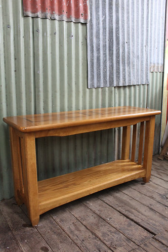 An Oak 2 Tier Hall Table Console with Inlay