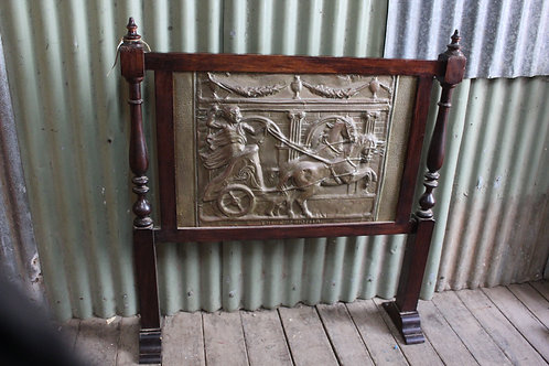 A Large Vintage Timber & Pressed Copper Fire screen