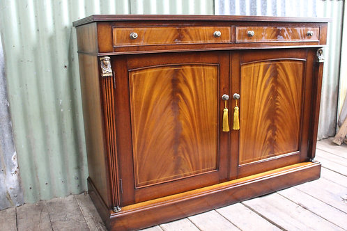 A French Empire Flame Mahogany Sideboard Buffet with Ormolu Figural Mounts