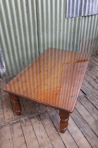A Quality Vintage Recycled Timber Coffee Table with Glass Top 118cm x 72cm