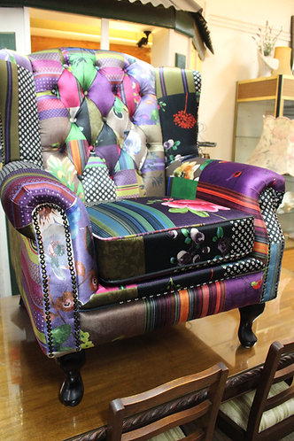 A New Chesterfield Wing Chair in Colourful Patchwork Fabric with Warranty
