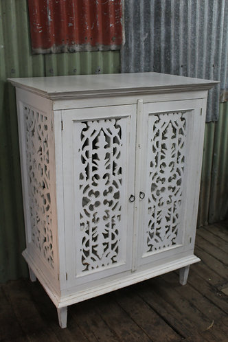 A Large White Cabinet Linen Press with Decorative Fretwork