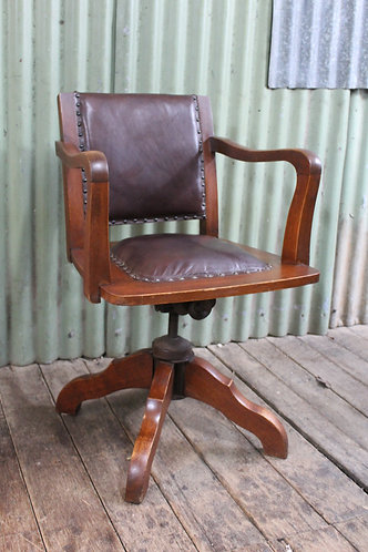 A Good Old Timber & Leather Swivel Office Chair