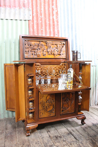 A Stunning Heavily Carved & Fully Fitted Vintage Chinese Cocktail Cabinet Bar