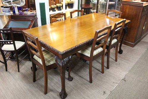 A Good Chippendale 7 Piece Mahogany Dining Setting with Ball & Claw & Glass Top