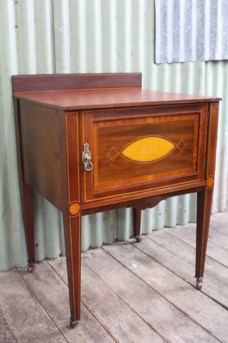 A Tall Antique Sheraton Revival Side Inlaid Cabinet - Bedside - Pot Cupboard