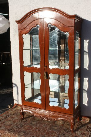 A French Provincial Mahogany Armoire Mirrored Display Cabinet
