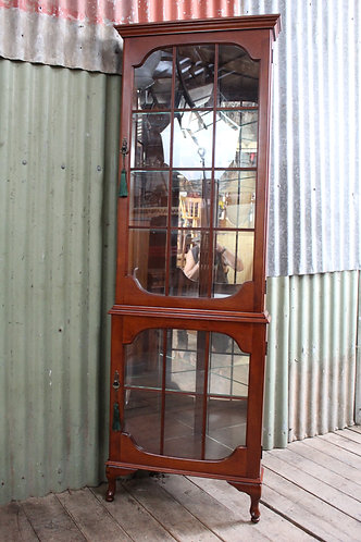 A Vintage Cedar Mirror Back Crystal Display Corner Cabinet *FREE DELIVERY *T&C's