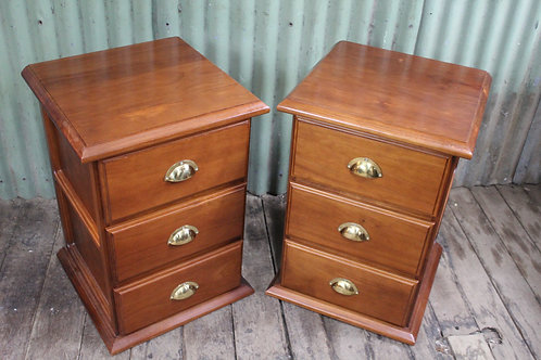 A Vintage Pair of Locally Made Bedsides 69cm High - Bedside Tables