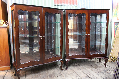 1 of 2 A Vintage Mahogany Mirror Back Crystal Display Cabinet - Two Available