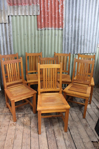 A Good Solid Set of Eight Teak Chairs