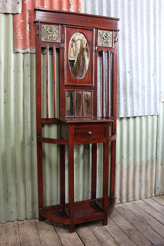 A Vintage Mirror Back Hall Stand - Matching Hall Table in another Listing