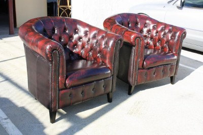 A Pair of Chesterfield 'Bristol'Tub Chairs  100% Genuine Leather
