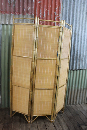 A Vintage Bamboo Foldable Room Divider Privacy Screen - 2 Available