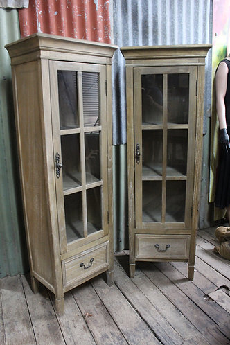 Pair of Rustic Glazed Display Cabinets