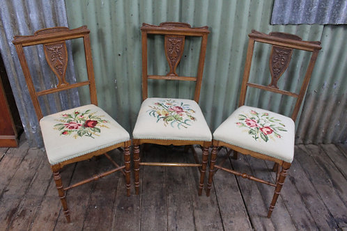 One of Three Edwardian Chairs with Tapestry Seats - $145 Each