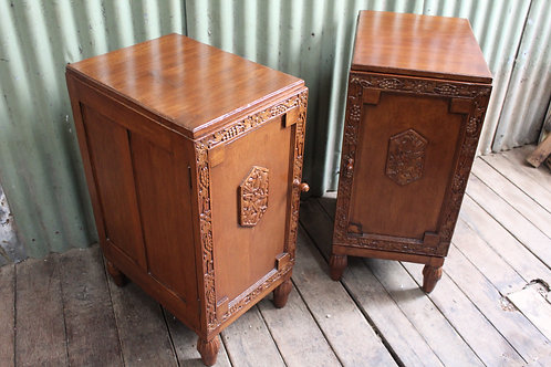 A Pair of Tall Vintage Decorative LH & RH Bedside Cabinets - Bedsides - Tables