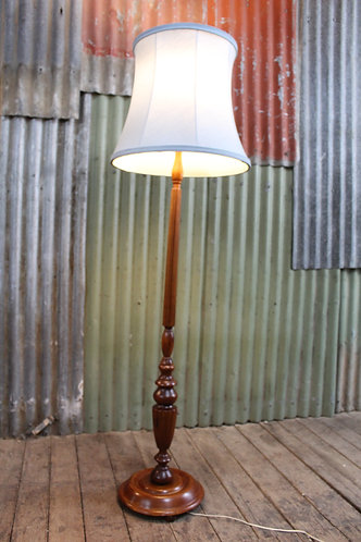 A Vintage Timber Standard Floor Lamp with Shade & Diffuser