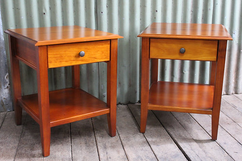 A Pair of Two Tier Timber Bedsides - Bedside Tables - Cabinets