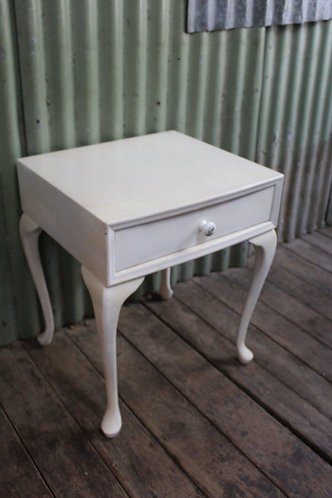 A Vintage White French Style Bedside Cabinet - Lamp Table