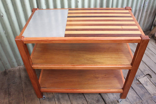 A Kitchen 3 Tier Timber Auto Trolley - Chopping Block - Island Bench