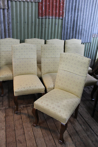 A Set of Eight French Style Timber Upholstered High Back Dining Chairs