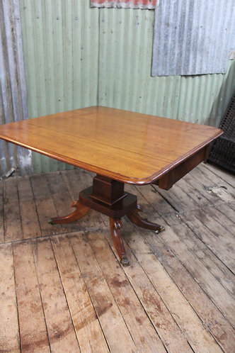 An Antique Regency Style Mahogany Drop Side Dining Table with Drawer & Claw Feet