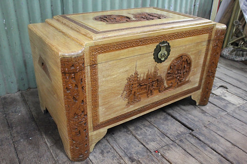 A Large Heavily Carved Oriental Camphor Wood Chest with Tray Trunk Blanket Box