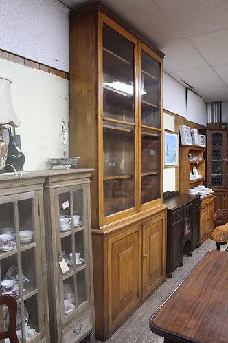 A 2.9m Tall Victorian Glazed Chemist Cabinet Bookcase Cottage Kitchen Cabinet