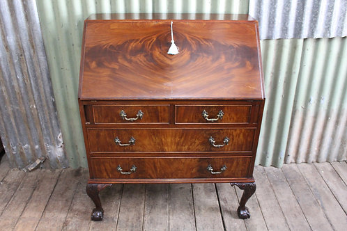 A Vintage Georgian Style Flame Mahogany Fall Front Bureau Desk on Ball & Claw