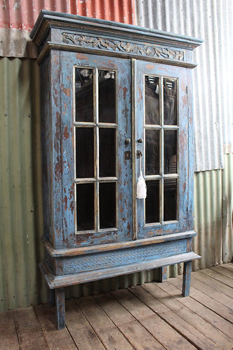A Vintage Glazed Bookcase Display Cabinet in Antique Blue Finish