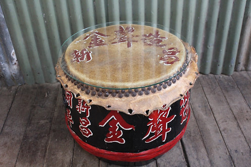A Large Old Chinese Lion Drum 70cm in Diam - Timber & Animal Hide - Coffee Table