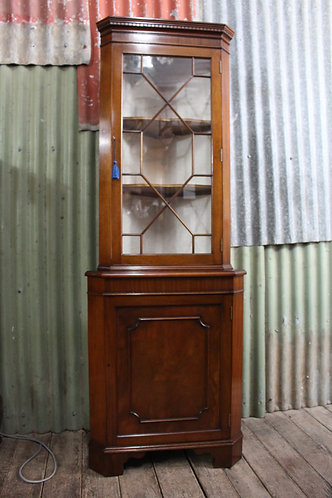 A Vintage Georgian Style Mahogany Corner Display Cabinet