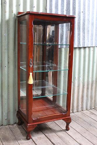 A Vintage Mahogany Single Door Mirror Back Crystal Display Cabinet