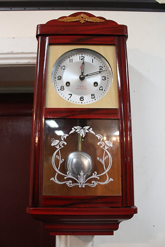 A Vintage 8 Day Wall Clock in Timber & Glass Case