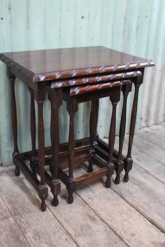 A Vintage Jacobean Nest of Oak Tables