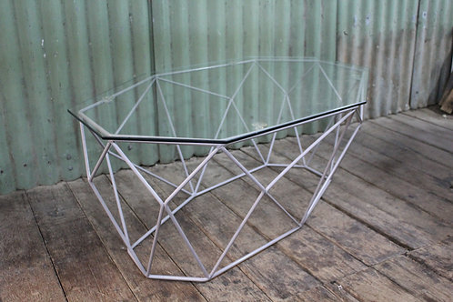 A Retro Geometrical Style Octagonal Wrought Iron & Glass Coffee Table