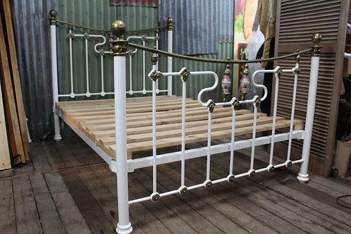 A Stunning Antique Art Nouveau Cast Iron & Brass Bed