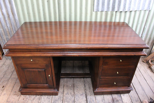 A Vintage Large Soild Twin Pedestal Desk with Fitted Glass Top