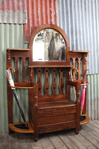 Rustic Arts & Crafts Hall Stand with Lift Top Storage Seat