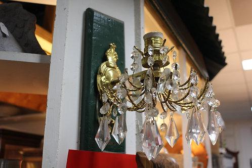 A Vintage Gilt Metal & Crystal Wall Mounted Light Fitting