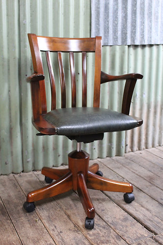 A Vintage Timber Swivel Office Chair with Upholstered Seat by Ausfurn