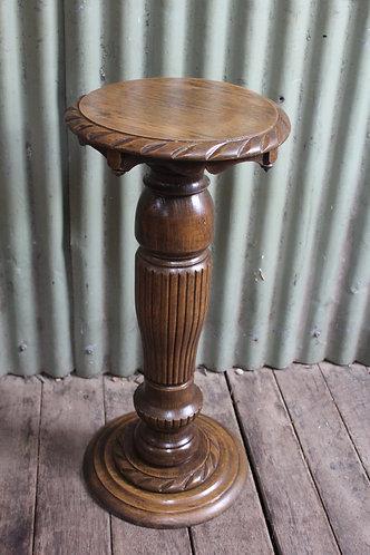 A Lovely Vintage Jacobean Oak Pedestal - Plant Stand