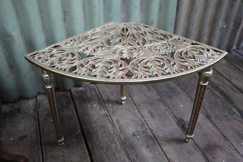 A Vintage Decorative Cast Iron Brass Plated Corner Table - Plant Stand