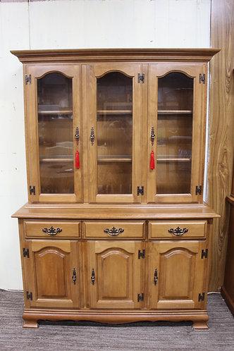 A Vintage Oak Double Bodied Glazed Display Cabinet Sideboard Dresser Buffet