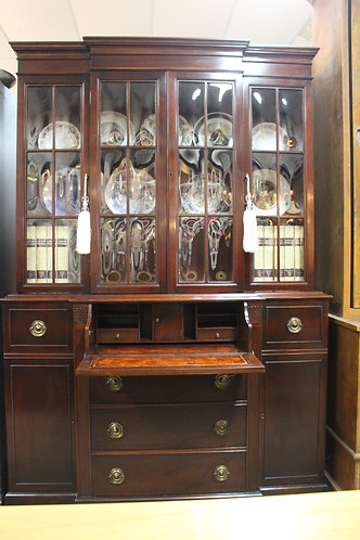 A Vintage Mahogany Convex Glazed Bookcase Display Cabinet with Bureau Desk