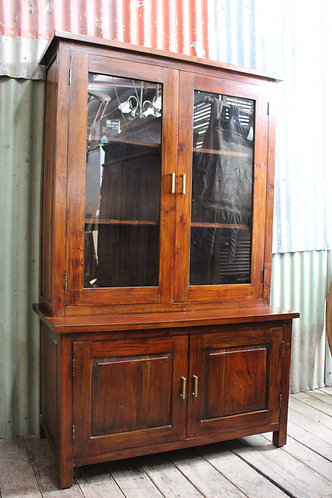 A Rustic Double Bodied Glazed Display Cabinet Hutch Bookcase from River Clay