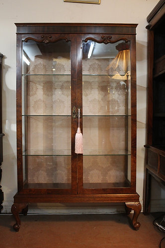 Stunning Tall Antique French Walnut Crystal Display Cabinet *FREE DELIVERY *T&C