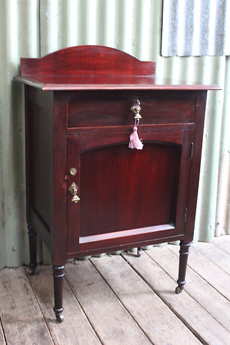 An Antique Mahogany Pot Cupboard on Castors- Side Cabinet - Bedside